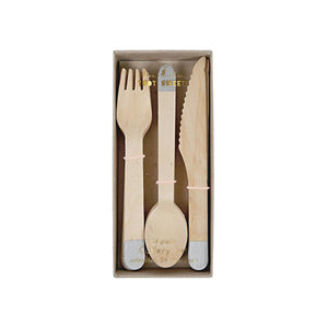Silver Wooden Cutlery Set (Pack of 24)