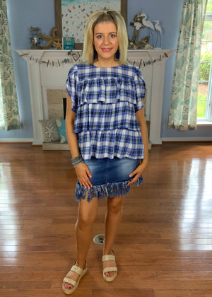 Plaid At You Tiered Plaid Top