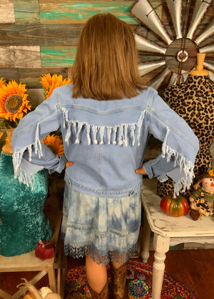 Free Bird Denim Fringe Jacket