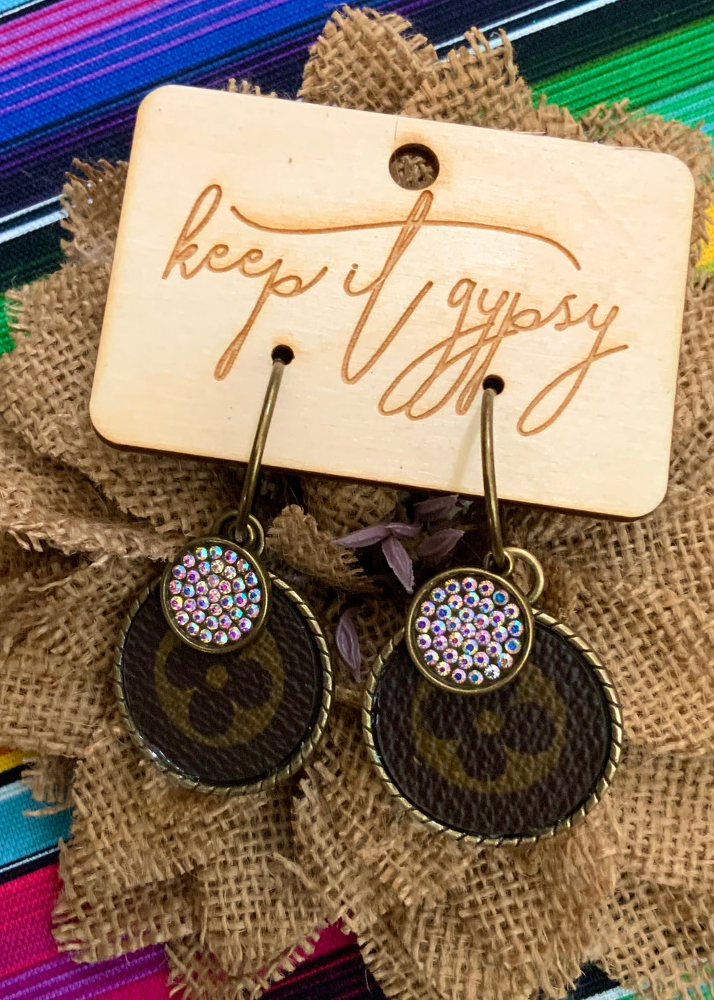 LV Drop W/Crystal Charm Earring-Round