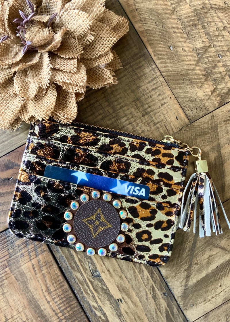 LV Metallic Leopard CC/Change Wallet-Gold