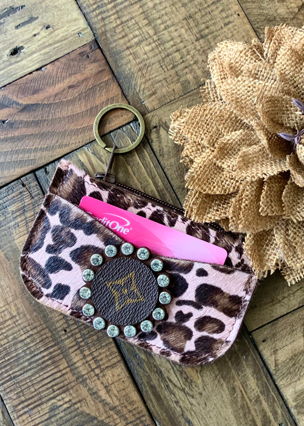 LV Pink Leopard Hair On Hide Keychain/CC