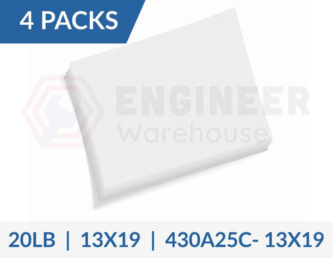 "Dietzgen 13"" x 19"" Sheets 430 20LB Engineering Bond Paper - 4 Packs per Carton - 430A25C-13X19"