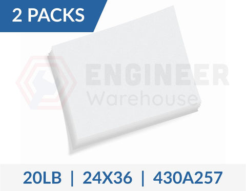 "Dietzgen 24"" x 36"" Sheets 430 20LB Engineering Bond Paper - 2 Packs per Carton - 430A257"