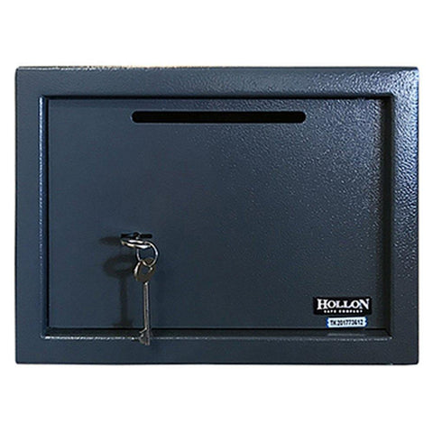 "Hollon Safe 9 7/8"" x 13 3/4"" x 9 3/4"" Drop Slot Safe (Black) - KS25P"