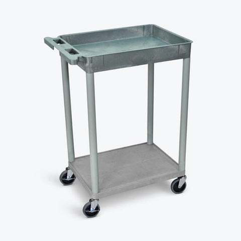 "Luxor 32"" x 24"" 2-Shelf Large Tub Cart with Tub Top & Flat Bottom (Gray) - TC12-G"