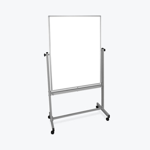 "Luxor 36""W x 48""H Silver/White Double-Sided Magnetic Whiteboard - MB3648WW"