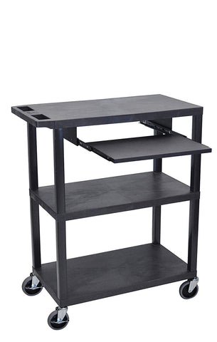 "Luxor 42""H 3-Flat Shelf Presentation Station w/ Pullout Shelf & Electric Outlet 32""W x 18""D x 42""H (Black) - EA42LE-B"