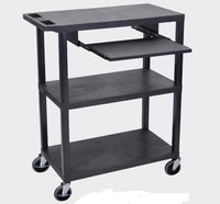 Luxor Black 3 Flat Shelves W/ Pullout Shelf &Black Presentation Station - EA42L-B