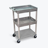 "Luxor 32"" x 24"" 3-Shelf Large Tub Cart (Gray) - TC112-G"