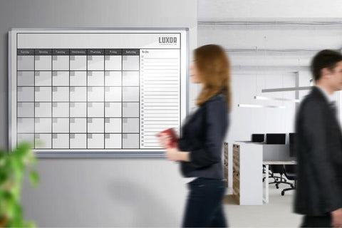 "Luxor 48"" x 36"" White Magnetic Dry-Erase Monthly Calendar - WB4836CAL"