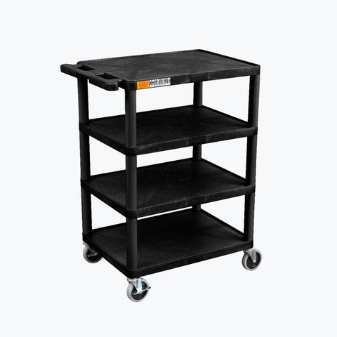 Luxor Four Flat Shelf Black Utility Cart - BC45-B