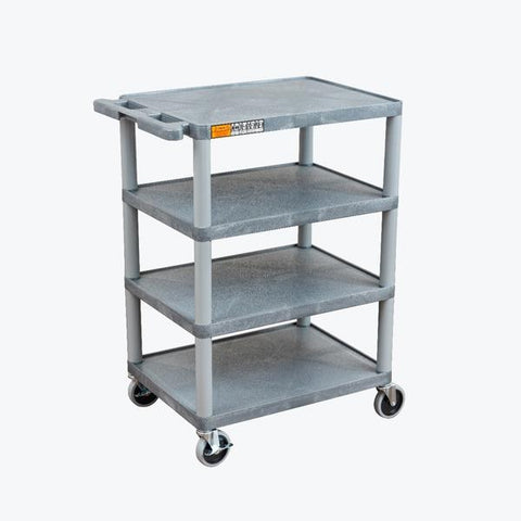 Luxor Four Flat Shelf Gray Utility Cart - BC45-G