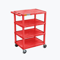 Luxor Four Flat Shelf Red Utility Cart - BC45-RD