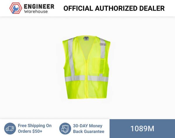 ML Kishigo Class 2 Single Pocket Zipper Mesh Vest Medium (Lime) - 1089M
