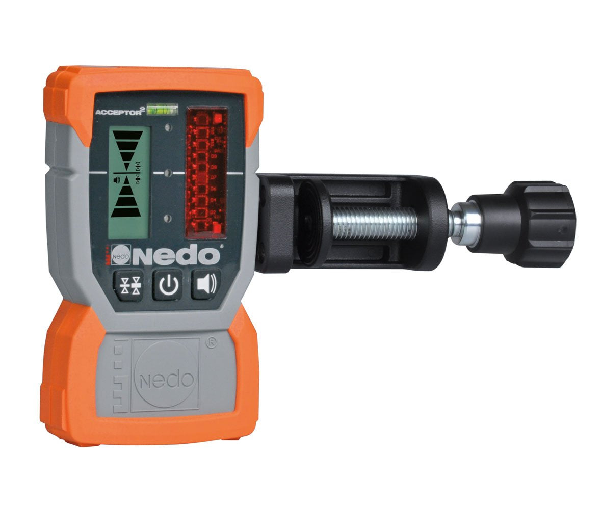Nedo ACCEPTOR2 Ruggedized Laser Receiver with Heavy Duty Rod Clamp - 430334