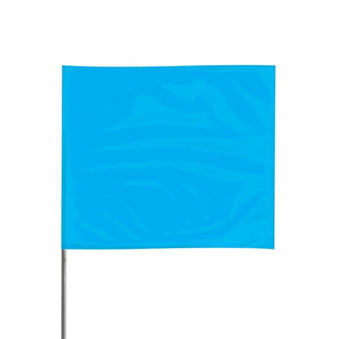 "Presco 4"" x 5"" Marking Flag with 30"" Wire Staff ( Blue Glo) - Pack of 1000 - 4530BG"