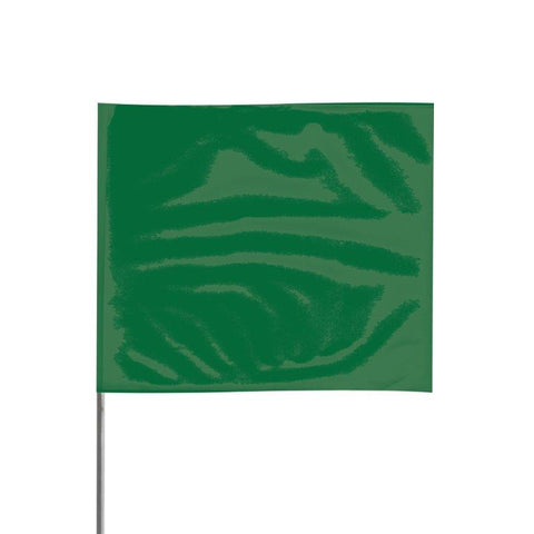 "Presco 4"" x 5"" Marking Flag with 36"" Wire Staff (Green) - Pack of 1000 - 4536G"