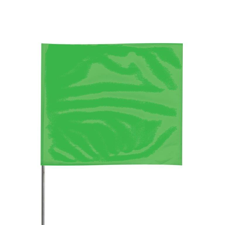 "Presco 4"" x 5"" Marking Flag with 21"" Wire Staff (Green Glo) - Pack of 1000 - 4521GG"