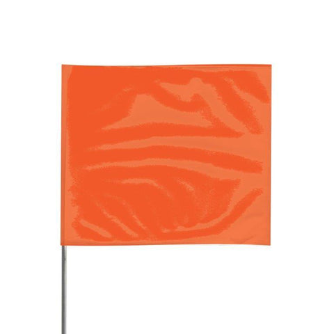 "Presco 4"" x 5"" Marking Flag with 30"" Wire Staff (Orange Glo) - Pack of 1000 - 4530OG"