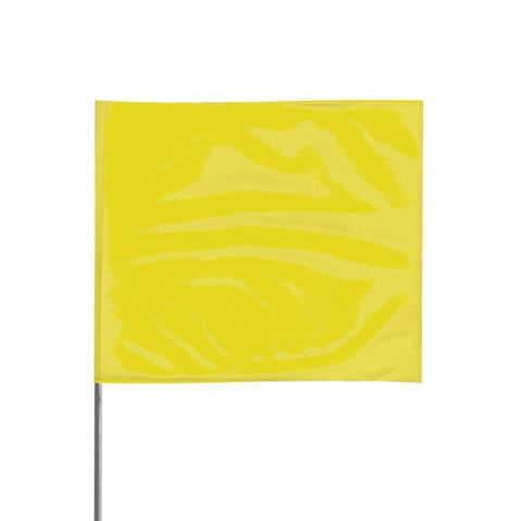 "Presco 4"" x 5"" Marking Flag with 36"" Wire Staff (Yellow) - Pack of 1000 - 4536Y"