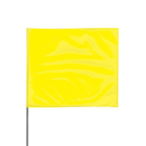"Presco 4"" x 5"" Marking Flag with 30"" Wire Staff (Yellow Glo) - Pack of 1000 - 4530YG"