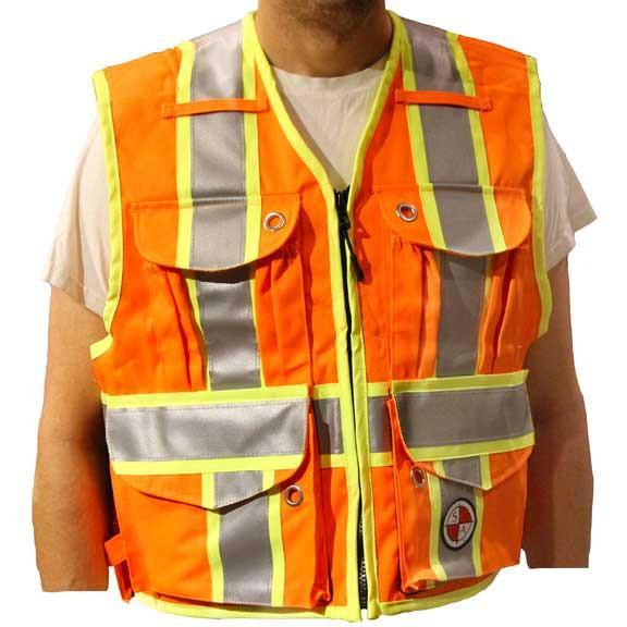 Safety Apparel Party Chief Survey Vest Class Large (Orange) - PC15X-O LARGE ORANGE