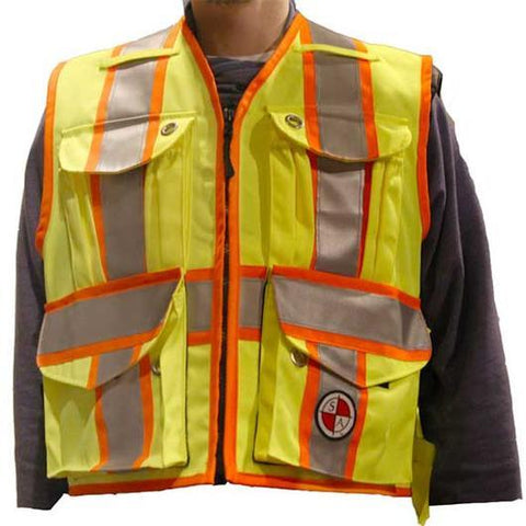 Safety Apparel Party Chief Survey Vest Class 2 Large (Yellow) - PC15X-Y LARGE YELLOW