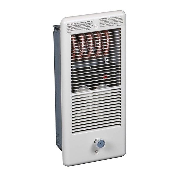 TPI 1500/1125W 240/208V 4300 Series Low Profile Fan Forced Wall Heater - 1 Pole Thermostat - White w/ Box - HF4315TRPW
