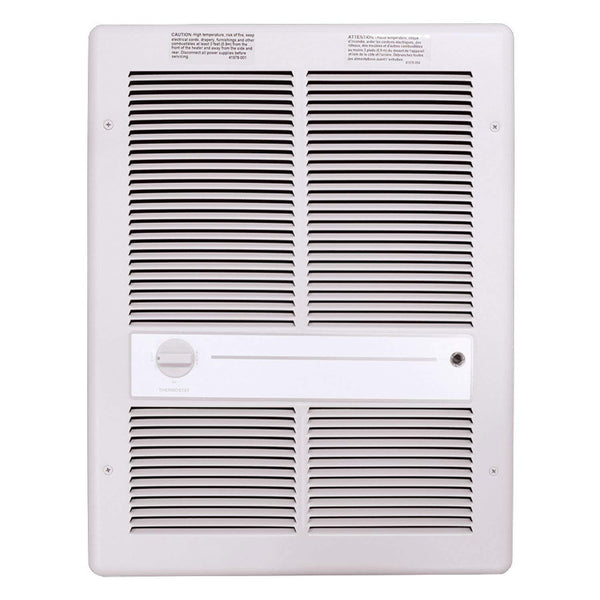 TPI 3000W 277V 3310 Series Fan Forced Wall Heater (White) - Without Summer Fan Switch - 2 Pole Thermostat - G3315T2RPW
