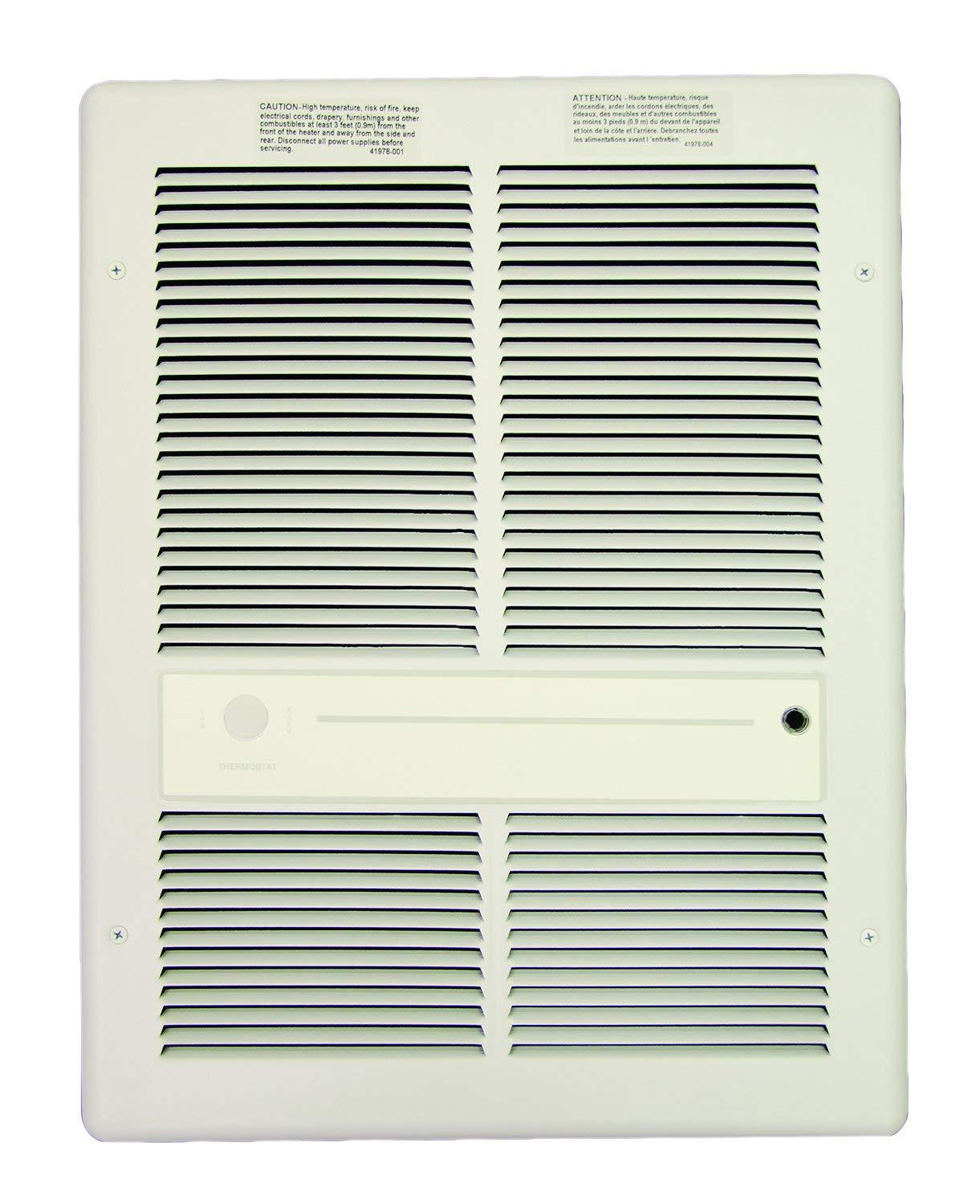 TPI 4000/3000W 240/208V 3310 Series Fan Forced Wall Heater (White) - Without Summer Fan Switch - 1 Pole Thermostat - HF3316TRPW