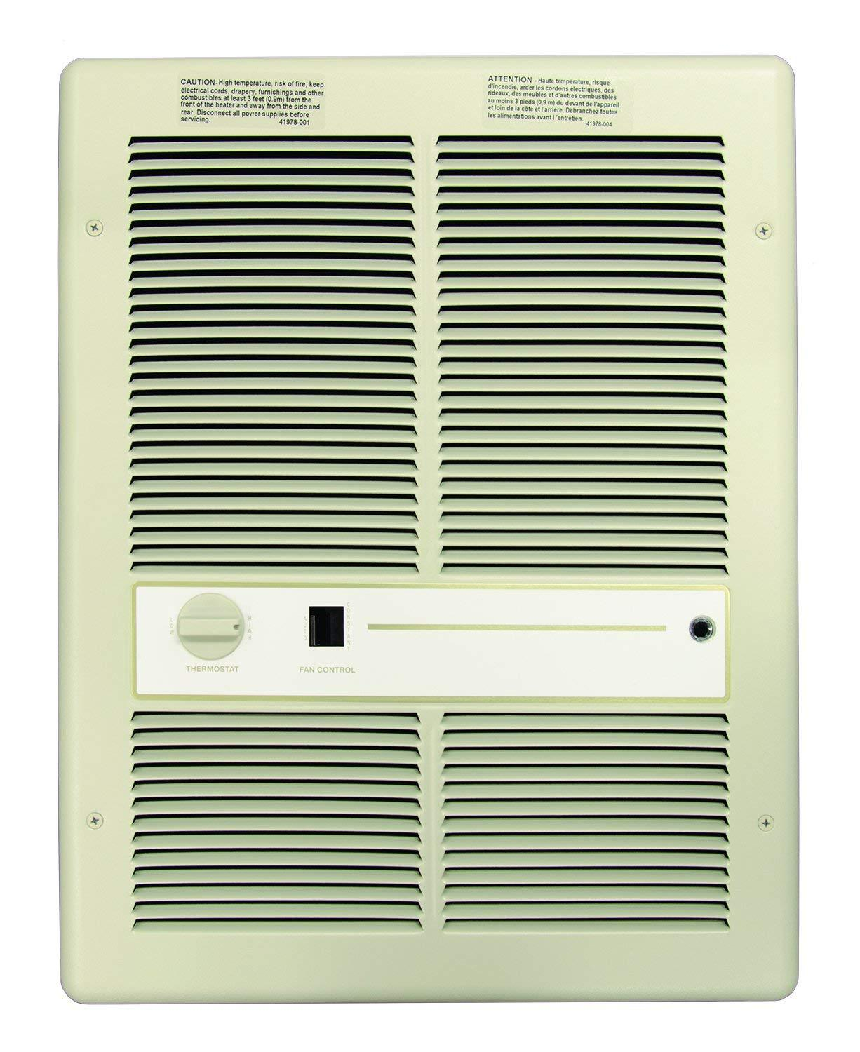 TPI- 4800W 208V Fan Forced Wall Heater With Summer Fan Switch- Double Pole Thermostat- Ivory - F3317T2SRP