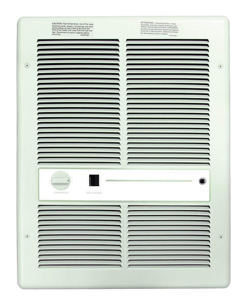 TPI- 4800W 208V Fan Forced Wall Heater With Summer Fan Switch- Double Pole Thermostat- White - F3317T2SRPW