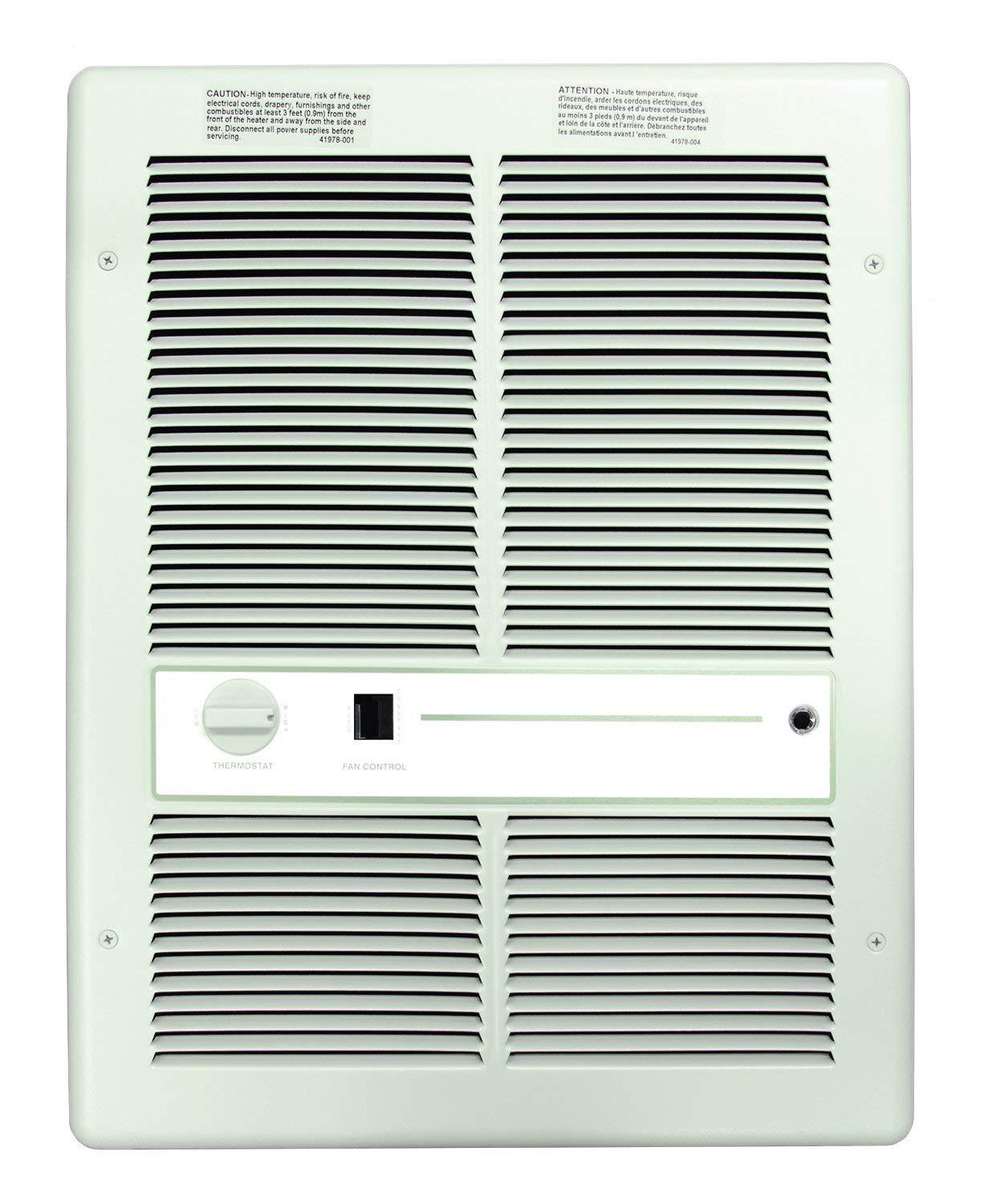 TPI 4800W 240V 3310 Series Fan Forced Wall Heater (White) - With Summer Fan Switch - 1 Pole Thermostat - H3317TSRPW