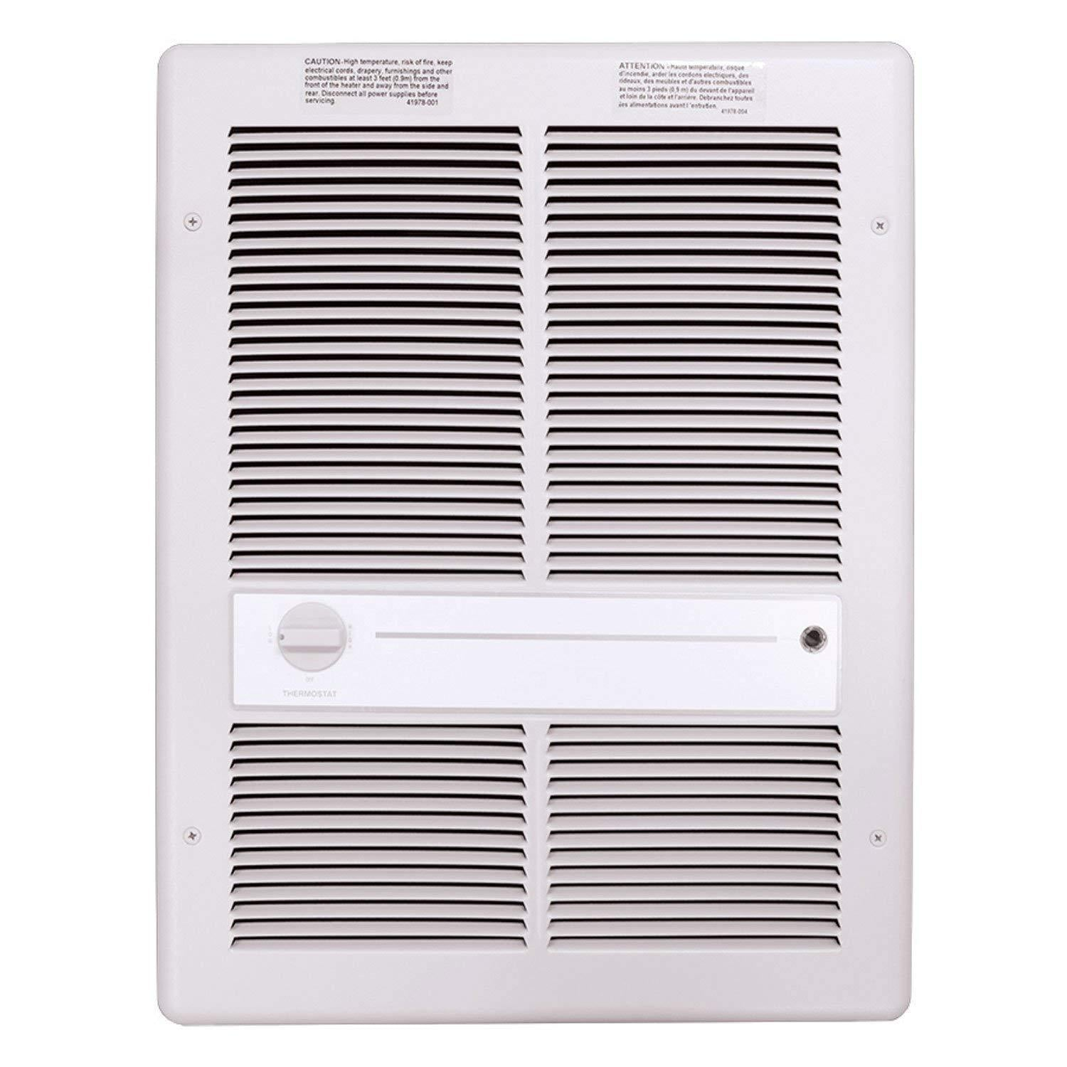TPI 4800W 277V 3310 Series Fan Forced Wall Heater (White) - Without Summer Fan Switch - 2 Pole Thermostat - G3317T2RPW
