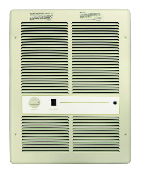 TPI Multi Watt- 240/208V 3310 Series Fan Forced Wall Heater (Ivory) - With Summer Fan Switch - 2 Pole Thermostat - HF3316T2SRP