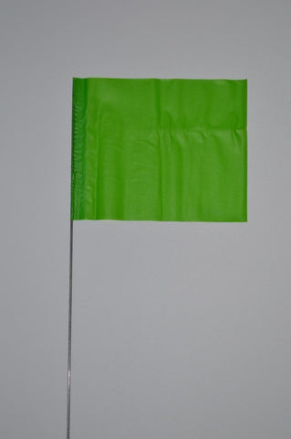 "Trinity Tape Marking Flags - Green Glo - 4"" x 5"" - 30"" wire - 4530GG"