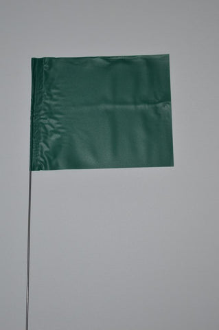 "Trinity Tape Marking Flags - Green - 4"" x 5"" - 30"" wire - 4530G"