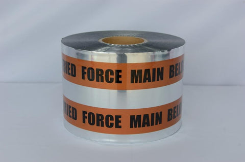 "Trinity Tape Detectable Tape - Caution Buried Force Main Line Below - Brown - 5 Mil - 6"" X 1000' - D6105BR29"