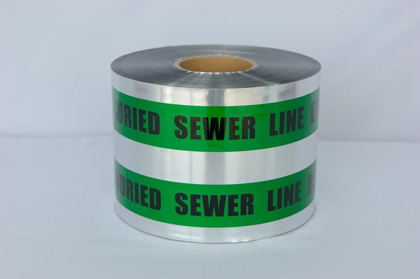 "Trinity Tape Detectable Tape - Caution Buried Sewer Line Below - Green - 5 Mil - 6"" x 1000' - D6105G4"