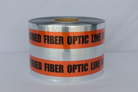 "Trinity Tape Detectable Tape - Caution Buried Fiber Optic Line Below - Orange - 5 Mil - 6"" x 1000' - D6105O51"
