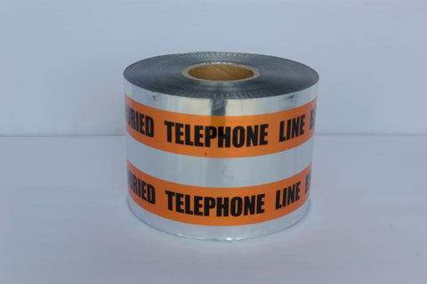 "Trinity Tape Detectable Tape - Caution Buried Telephone Line Below - Orange - 5 Mil - 6"" x 1000' - D6105O54"