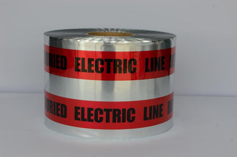 "Trinity Tape Detectable Tape - Caution Buried Electric Line Below (red) - Red - 5 Mil - 6"" x 1000' - D6105R6"