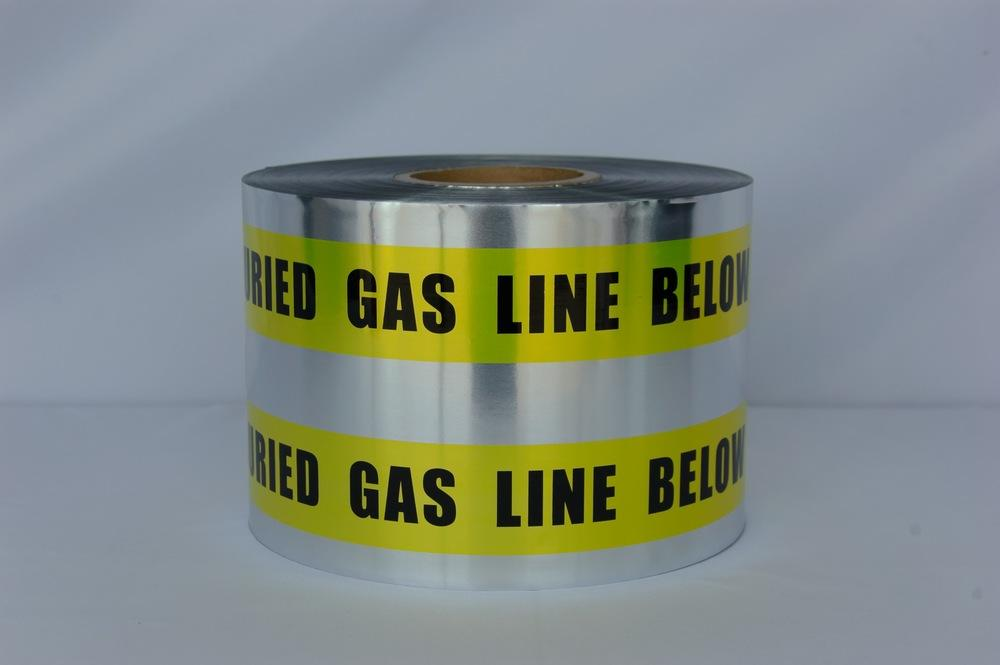 "Trinity Tape Detectable Tape - Caution Buried Gas Line Below - Yellow - 5 Mil - 6"" x 1000' - D6105Y5"