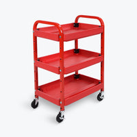 "Luxor 3-Adjustable Height Shelf Utility Cart 22""W x 15.5""D x 32""H (Red) - ATC332"