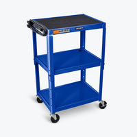 "Luxor Adjustable Height Metal AV Cart 24""W x 18""D x 24"" to 42""H (Royal Blue) - AVJ42-RB"