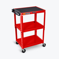 "Luxor Adjustable Height Metal AV Cart 24""W x 18""D x 24"" to 42""H (Red) - AVJ42-RD"
