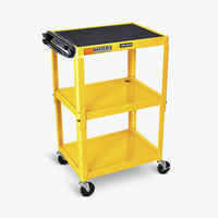 "Luxor Adjustable Height Metal AV Cart 24""W x 18""D x 24"" to 42""H (Yellow) - AVJ42-YW"