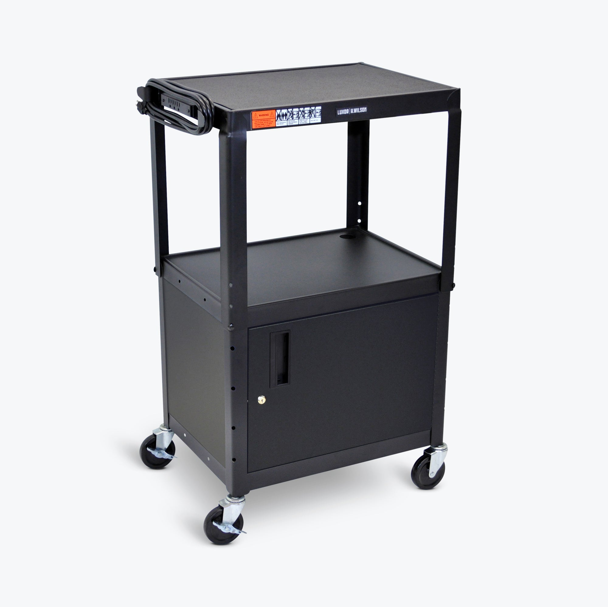 "Luxor Adjustable Height Metal Cart w/ Cabinet 24""W x 18""D x 24"" to 42""H (Black) - AVJ42C"