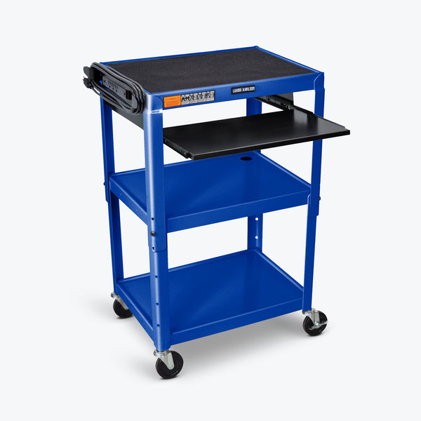 "Luxor Adjustable Height Metal AV Cart w/ Pullout Keyboard Tray 24""W x 18""D x 24"" to 42H (Royal Blue) - AVJ42KB-RB"